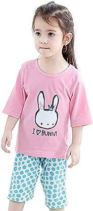 Girls Cute Pyjamas Set Kids Short Sleeve Soft Cotton Pjs Pajamas Nightwear Sleepwear Tops T Shirts & Pants