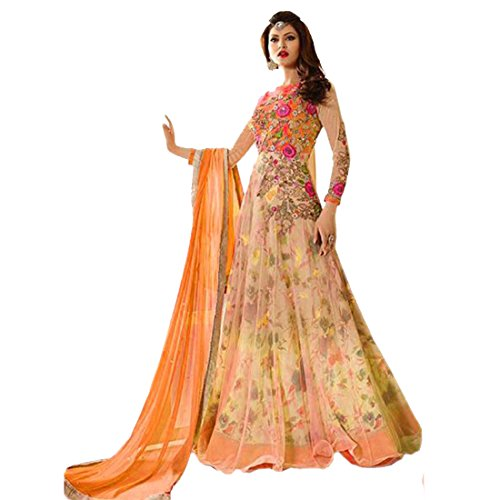 Zombom Orange Heavy Net & banglory Semi-Stitched Anarkali Suit