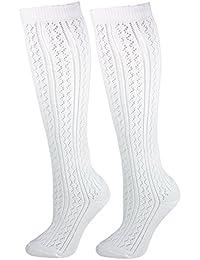 Trachten Kniestrümpfe für Damen im Häkellook - Weiß - Socken zu Dirndl und Lederhose