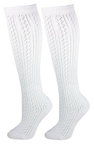 Trachten Kniestrümpfe für Damen im Häkellook - Weiß Gr. 39-42