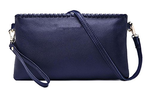 Mme Leather Clutch blue