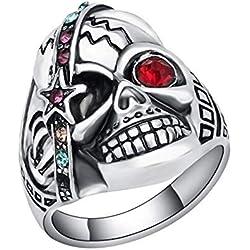 YDMSGSB Anillo Punk Boda Joyas De Plata Cráneo Cristal S Hombres S Joyería Medieval Vintage Hombre Anel-9#