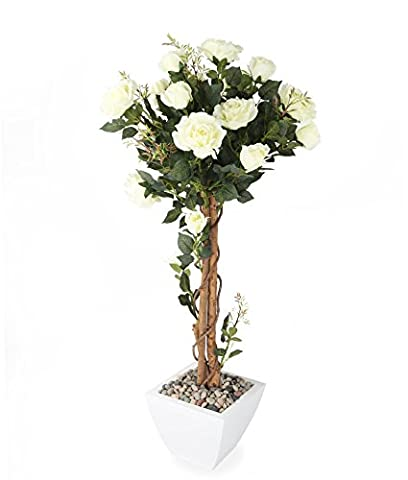 Closer2Nature Artificial 4ft Cream Rose Tree - Portofino Planter Not