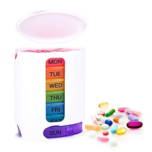 Coardor Medikamentendosierer 7 Tage Pillendose Pillenbox Wocheneinteilung Tablettendose Tablettenbox Wochendosierer Morgens Mittags Abends Regenbogen