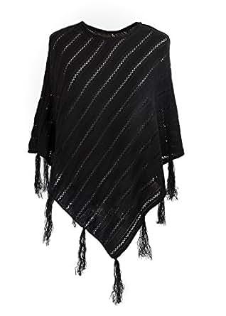 Damen Cape Capes Schal Lang Gestrickt Gefalteter Rollkragen Knopf Ponchos Fäustlinge Einheitsgröße (Black) MFAZ Morefaz Ltd