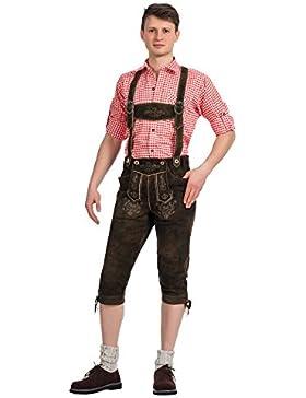 Herren Trachten Lederhose Kniebundhose mit Trägern aus feinstem Ziegenveloursleder in antikbraun verfügbar in...