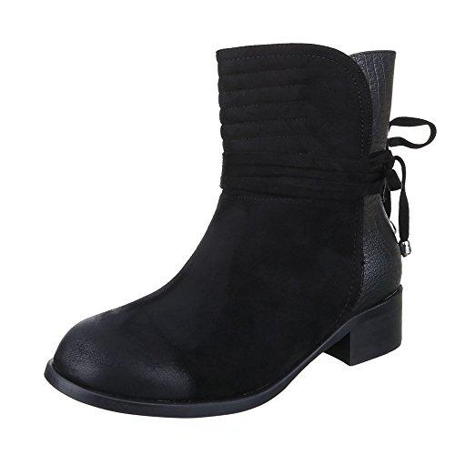 Komfort Stiefeletten Damen Schuhe Schlupfstiefel Blockabsatz Leicht Gefütterte Ital-Design Stiefeletten Schwarz