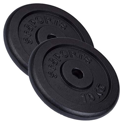 ScSPORTS 20 kg Hantelscheiben-Set, 2 x 10 kg, Gusseisen Gewichte, 30/31 mm Bohrung