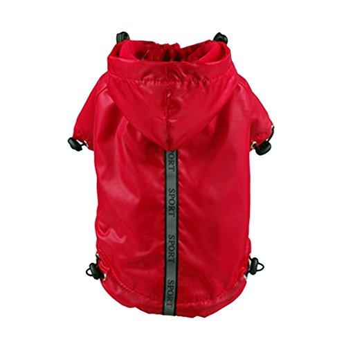 perfk Hunde Regenmantel reflektierende Regenjacke mit Kapuze und Bauchschutz - Rot, L