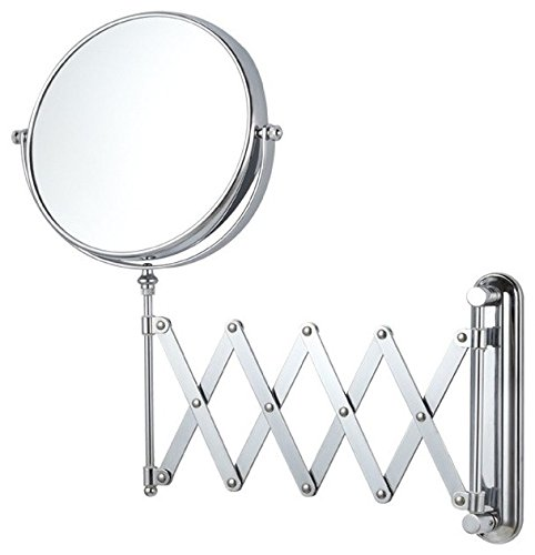 """KitschTM 200 mm (8"""") DIA Retractable Makeup/Shaving SS Frame Mirror with 3X Magnification"""