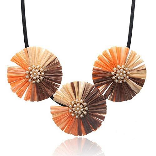 MAOMAFG Halskette Damen Lafite Anhänger Halskette Damen Europa Und Amerika Übertriebene Schlüsselbeinkette Damen Artikel Accessoires Halskette Leder,Orange