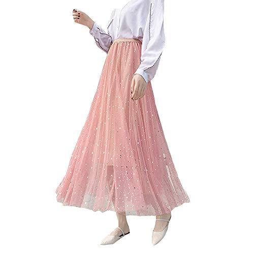 Frauen Damen Tutu Mesh Röcke Pailletten Tüll Funkelnde Sterne Lange Röcke Hohe Elastische Taille Gefaltete Maxi Röcke (Rosa)