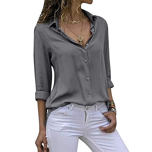 41dd81bb Decai Camisa Mujeres Blusa Casual Cuello V Camiseta Túnica Color Puro  Camisa de Gasa Mangas Largas para Mujer Sexy Camisetas Tops Gris 38-40 EU
