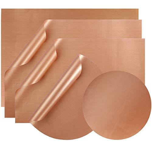 Hemoton Grillmatte - 5 Stück antihaftbeschichtete Grill-Matte für Gas-, Holzkohle-, Elektrogrill und mehr (Kupfer) -