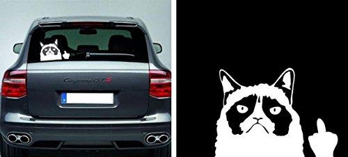 DESIGN FREUNDE Grumpy Cat Grumpy KFZ Aufkleber Autosticker Sticker Aufkleber Car Design Auto Autoaufkleber Folie Autotuning Tuning Katze Mittelfinger WITZIG