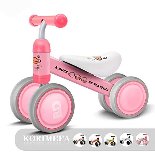 KORIMEFA Bicicleta sin Pedales para Niños Bicicleta de Balance para Bebé con Cuatro Ruedas Primer Regalo de Cumpleaño de Bicicleta para Bebé de 1-2 años (Pato Rosa)