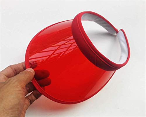 Rote Damen Candy Kappe (LJZXXK PVC Kunststoff Visier Hut Rand Candy lässig Winddicht Kappe Fahrrad UV-Schutz Sonnenschutzkappe rot)
