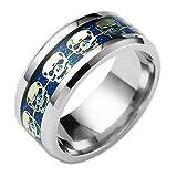 Coconano anillo calavera Anillo de hombre Anillo de hip hopanillo compromiso de Anillo de caballero de titanio(Azu)