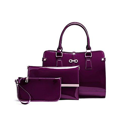 Tisdaini® Damenhandtaschen Mode Lackleder Schultertaschen Set 3 Stuck Shopper Umhängetaschen Brieftasche Lila