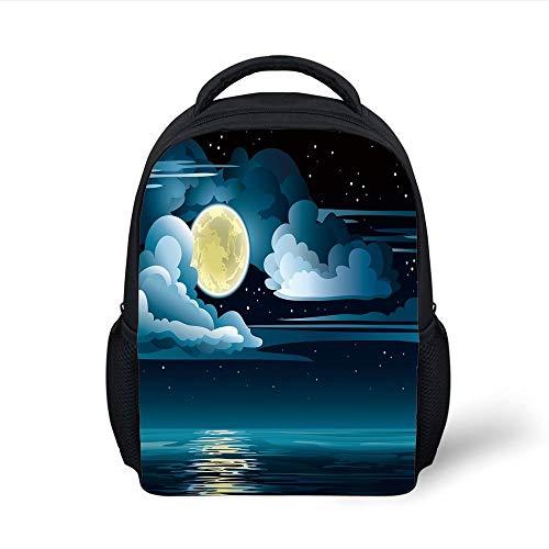 Eggshell Blue Cup (Kids School Backpack Night,Clouds Full Moon Stars Over The Sea Romantic Fantasy Graphic Print,Black Light Blue Eggshell Plain Bookbag Travel Daypack)