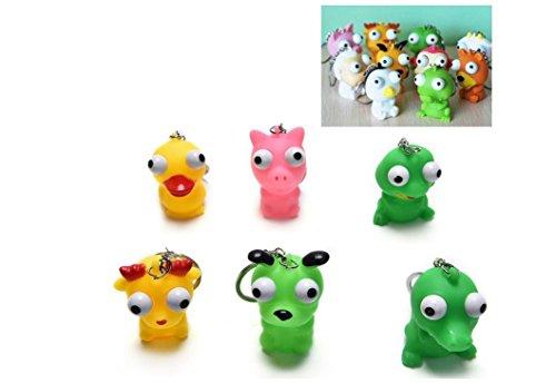 Anti-Stress-Ball Animal Schlüsselanhänger erhöhte Augen Puppe Quetschen Spielzeug (zufällige Farbe)