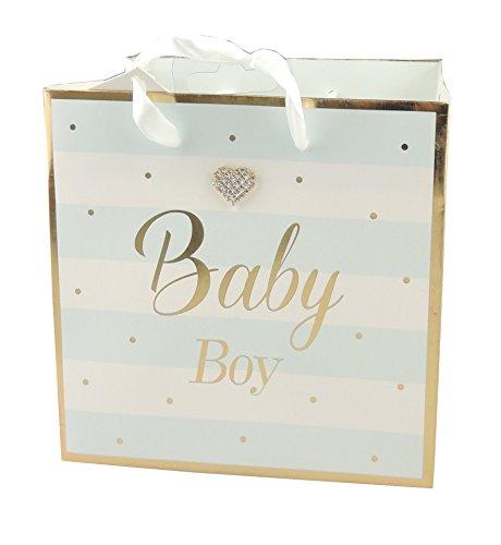 Pastell Baby Girl Boy Gold geschnittenen Streifen Baby Dusche Taufe Geschenk Wrap Tasche, blau, S