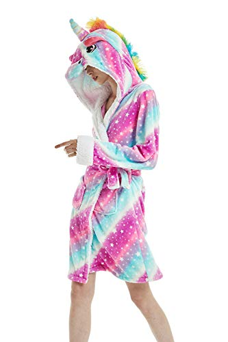 Kenmont Damen Bademantel/Morgenmantel mit Kapuze Robe Nachtwäsche Tier Kostüme Pyjama (L: 166-186cm, Starry Sky)