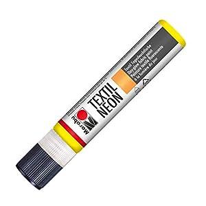 Marabu 18080009321 Neon Liner - Tinte Textil para Ropa (Base de Agua, Resistente a la Saliva, Tacto Suave, 25 ml), Color Amarillo Fluorescente