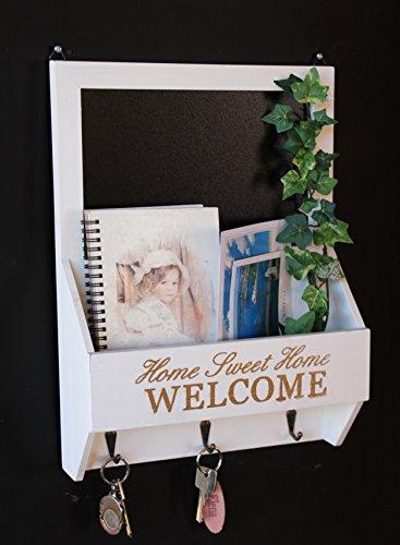 DanDiBo Wandorganizer Vintage Schlüsselbrett Holz mit Ablage 15B812 Weiß 40cm Schlüsselboard Briefablage Kreidetafel Schlüsselkasten Shabby Chic Memoboard - Schlüsselbrett-organizer