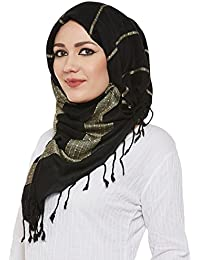 Momin Libas Women's Viscose Beaded Hijab Scarf(HCT35317A_Black and Grey_Free Size)