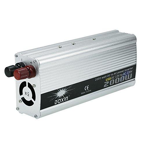 KKmoon 2000W Inversor Corriente Portatil DC 12V AC
