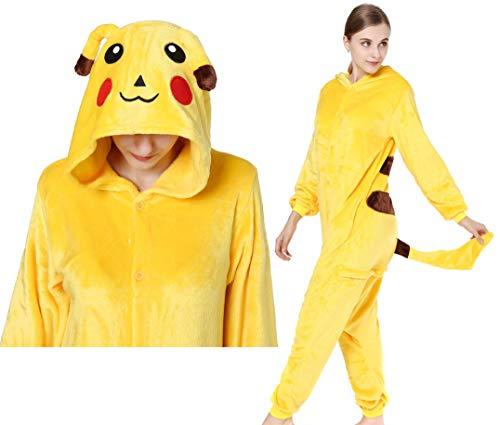 Lelike Pikachu Kostüm Jumpsuit Damen Kuschelig Herren Schlafanzug Pyjama Tier Faschings Kostüm für Erwachsense L