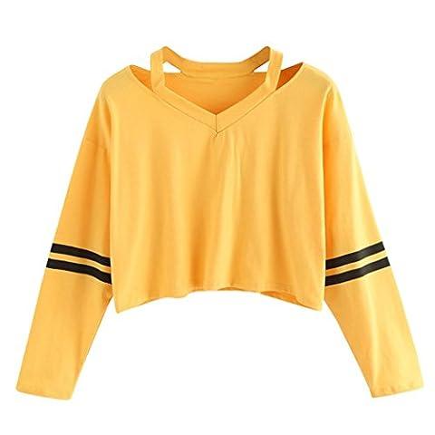 Tonsee Femmes Mode Blanc Lettre Imprimer Surgir Sweat-shirt Top Blouse (S, Jaune2)