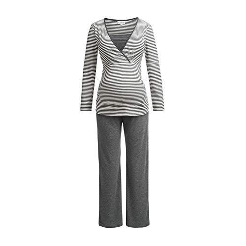 Herzmutter Gestreifter Stillpyjama-Schlafanzug-Umstandspyjama für Damen, weiches-softes Material, Lang-Langarm, Maritim-Streifen-Muster, Weiß-Blau-Grau (2100) (L, Dunkelgrau/Weiß)