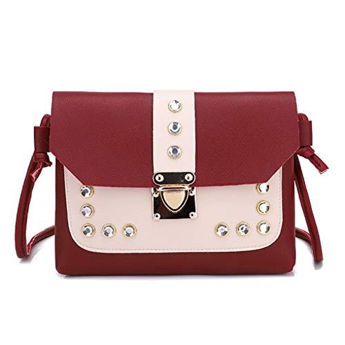 Dorical Damen - Messenger Damen 18x2x14cm Patchwork Strass Crossbody Taschen Handtasche Umhängetasche Tragetasche Taschen Handtaschen/Schultertasche Henkeltasche für Frauen(Rot)