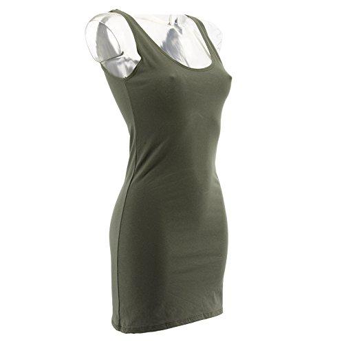 Netgozio 2 Pezzi Miniabito Donna Maxitop Vestito Vestitino Canottiera Vari Colori Nuovi Verde