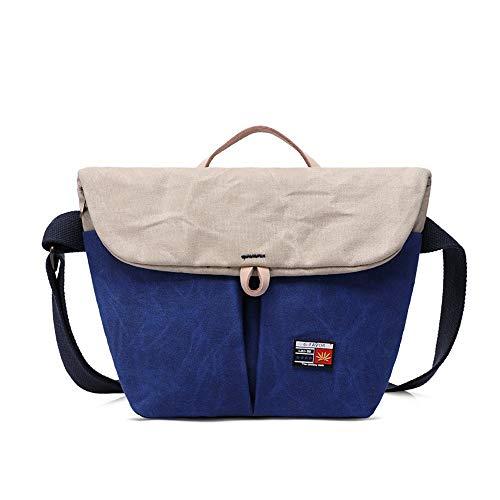 SKKMALL Herren Vintage Große Leinwand Umhängetasche Schule Laptoptasche Wandern Reiserucksack (Color : Blau, Size : One Size) (Schultergurt Jungen-mittagessen-tasche)