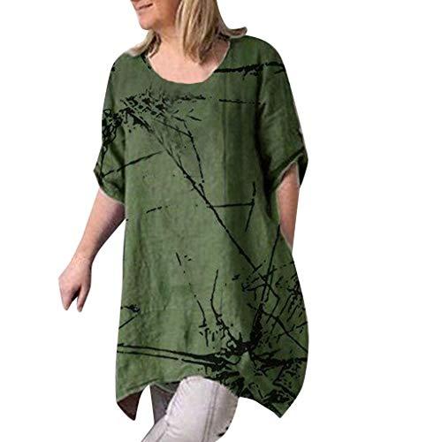 on Damen Top Bluse Bequem Lässig Mode T-Shirt Frühling Sommer Blusen Frauen beiläufige Kurzarm Rundhalsausschnitt gedruckte Oberteile lose T-Shirt Bluse(Armeegrün, 5XL) ()