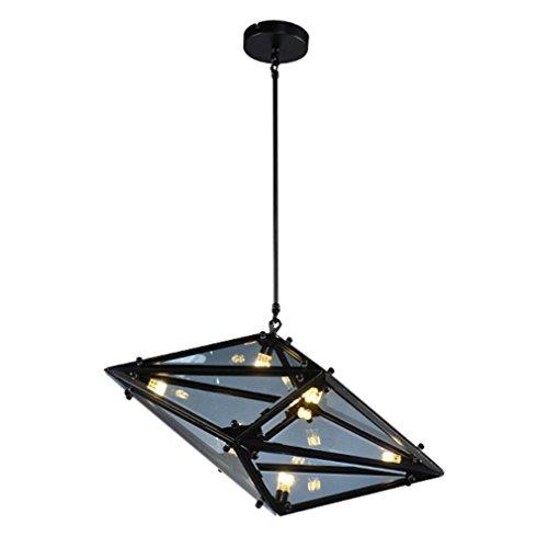 Kronleuchter Eisen Kreative Restaurant Lampe G4×16 Schönes Pendelleuchte Schwarz+Rauchgrau Glaslampen Schirm Beleuchtung(61cm×30cm) Rauch-glas-esstisch