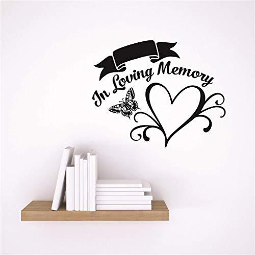 YUHUS Home Design mit Vinyl Dekor Wandtattoo Aufkleber: in liebevoller Erinnerung Herz Schmetterling Design Memorial Remembrance Zitat, 10 x 10, schwarz