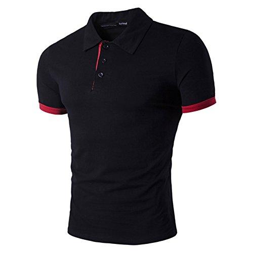 Männer Casual Slim Fit Kurzarm Poloshirt T-Shirt Tee Tops 2XL (Jacquard-polo-tee)