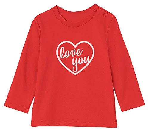 St Valentin Love You T-Shirt Bébé Unisex Manches Longues 12-18M 76/89cm Rouge