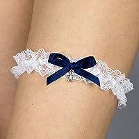 Giarrettiera di pizzo nozze matrimonio sposa biancheria intima regali de nozze addio al nubilato bianco blu conchiglia mare stella marina