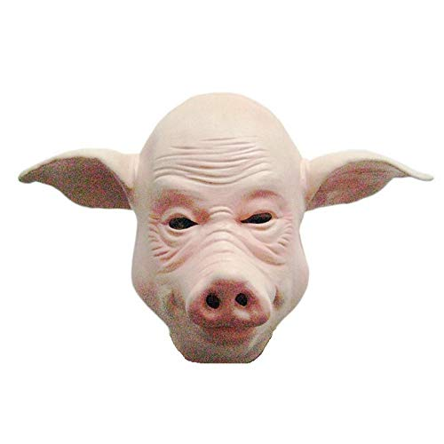 Kostüm Kopfbedeckung Tier - Factorys Glatze Schwein Kopf Maske, Latex Tier Kostüm Kopfbedeckung für Halloween Kostüm
