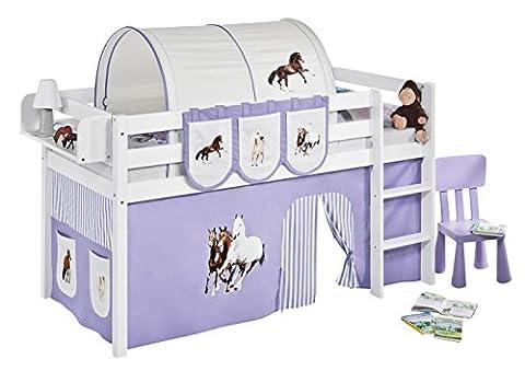 Lilokids JELLE2054KW-PFERDE-LILA Spielbett Jelle Pferde, Hochbett mit Vorhang Kinderbett, Holz, lila / beige, 208 x 98 x 113