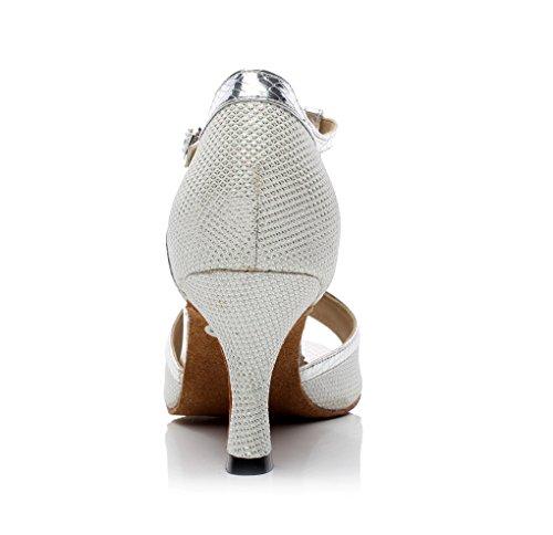 Minitoo qj7026da donna Glitter T-Strap Sala da ballo scarpe da ballo Argento (argento)
