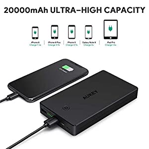AUKEY Bateria Externa 20000mAh Power Bank con Entrada Lightning y Micro USB, 2 Salidas USB 3,4A para iPhone X/8/7/6s, Samsung S8+/S8, Tablets y más