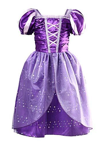 Rapunzel Kostüm Tutu - douleway Kinder Mädchen lila Prinzessin Kleid Kostüm Kleid Tutu Prom kleine Mädchen Prinzessin Rapunzel Kleid Kostüm (5-6T)