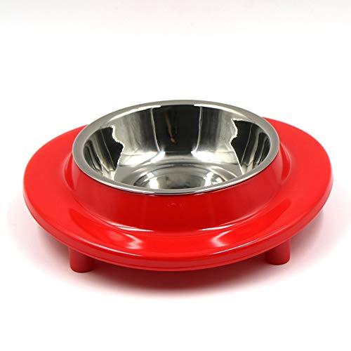 PET Bowl A5 Food Grade Melamine Solid Color Non-Slip Runde Zwei-in-einstalsener Stahl-Häwe Non-Toxic und Tasteless Anti-Fall Durable,Red (Hund Stand Schüssel Große Extra)