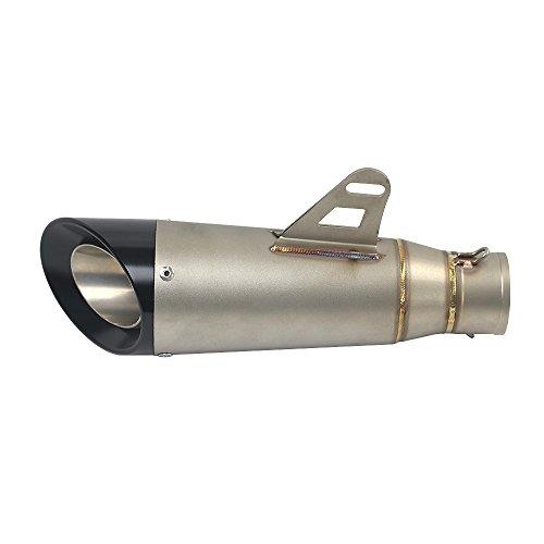 Kkmoon scarico moto, universale 51mm tubo di scarico marmitta in acciaio inox, terminale di scarico tubo silenziatore per moto, titanio